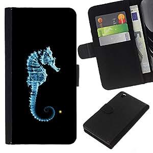 All Phone Most Case / Oferta Especial Cáscara Funda de cuero Monedero Cubierta de proteccion Caso / Wallet Case for HTC DESIRE 816 // Seahorse Blue Light Black Ocean Sea Creature