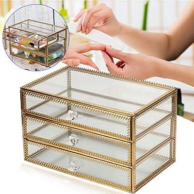 Caja De Almacenamiento De Maquillaje Transparente Y De Vidrio ...