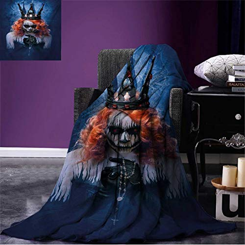 Anniutwo Queen Cool Blanket Queen of Death Scary Body Art Halloween Evil Face Bizarre Make Up Zombie Pattern Navy Blue Orange Black W60 x L50 inch -