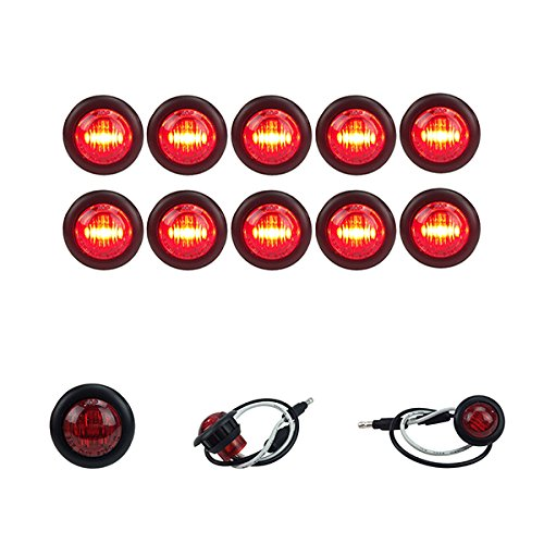 10 NEW LONG HAUL 3/4″ RED LED CLEARANCE MARKER BULLET LIGHT TRUCK TRAILER MARKER LIGHTS BLACK TRIM & CONNECTOR ENDS