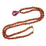 Meditation yoga Gift Idea- Pink Jade Rudraksha Prayer Beads Necklace Japamala Yoga Jewelry 108+1