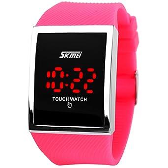 Skmei - Reloj de Pulsera Digital con Pantalla táctil Resistente al Agua para niños y niñas, Color Rosa y Rojo: Amazon.es: Relojes