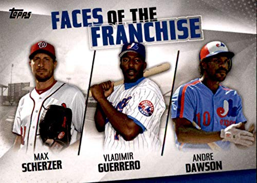 2019 Topps Faces of the Franchise Trios #FOF-29 Andre Dawson/Max Scherzer/Vladimir Guerrero Montreal Expos/Washington Nationals Baseball Card