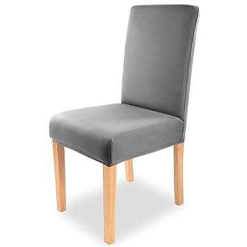 Fundas elásticas para sillas Gräfenstayn® Charles - Diferentes colores para respaldos redondos y cuadrados, ajuste bi-elástico con sello Öko -Tex Standard ...