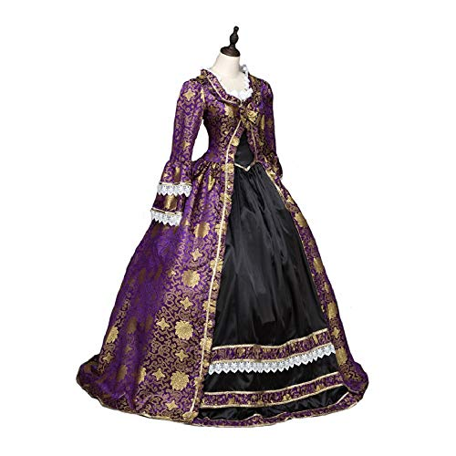 CountryWomen Gothic Princess Renaissance Bridesmaid Period Dress Ball Gown Theater Costume (L:Height:67-69 inch;Bust:38-41 inch, Waist:31-33 i, Purple) -
