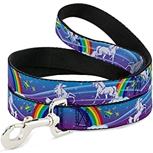 Buckle-Down 0.5″ Narrow Unicorns/Rainbows/Stars Blue/Rainbow with White Dog Leash, 4′