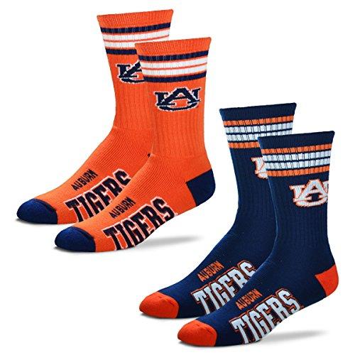 For Bare Feet Men's 4 Stripe Deuce Crew Socks-Auburn Tigers-Large-2 Pack