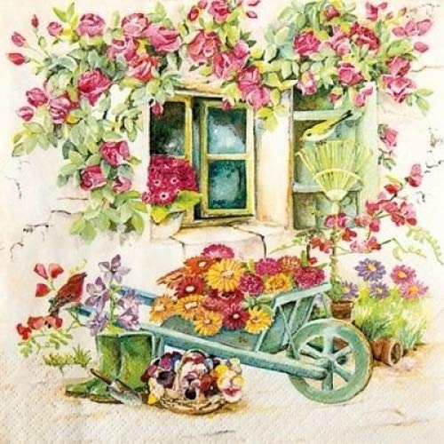 4 x Paper Napkins - Backyard Garden - Ideal for decoupage / Napkin Art Crafty Things