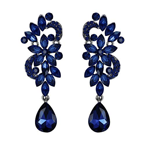 BriLove Wedding Bridal Clip On Earrings for Women Bohemian Boho Crystal Flower Chandelier Teardrop Bling Long Dangle Earrings Navy Blue Sapphire Color Black-Silver-Tone ()