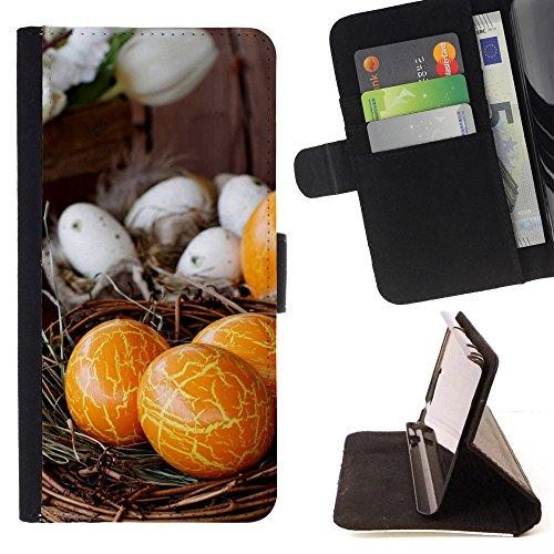God Garden - FOR Apple Iphone 6 PLUS 5.5 - Orange Eggs - Glitter Teal Purple Sparkling Watercolor Personalized Design Custom Style PU Leather Case Wallet Fli