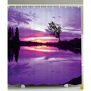 Amazon.com: Ambesonne Purple Shower Curtain Love Artwork Decor by ...