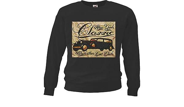 Sudaderas Suéter New York CLÁSICA Car Club Manhattan Hot Rod Coche Nos Mucle Car V8 Ruta 66 America EE.UU. in Negro: Amazon.es: Ropa y accesorios