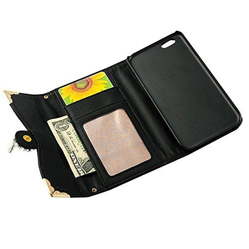 Schwarz PU Leder Flip Case Cover Wallet Folio Schutzhülle für Apple iPhone 6 4.7 Zoll Tasche Ledertasche Hülle Lederhülle Etui Schale Backcover mit Kette Bling Diamant Kamelien Blume