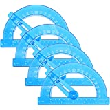4 Pack Plastic Protractor Math Protractors,6 Inch Blue Protractor Bulk Set,180 Degrees for Angle Measurement Ruler Goniometer