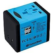 Swordfish 40248 VariPlug Dual USB Universal Travel Plug Adapter/Charger – Blue
