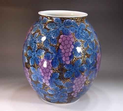 有田焼伊万里焼|花瓶陶器花器壺|贈答品|高級ギフト|記念品|贈り物|天目葡萄藤井錦彩 B00HWMS376