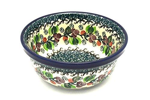 Polish Pottery Bowl - Soup and Salad - Burgundy Berry Green ()