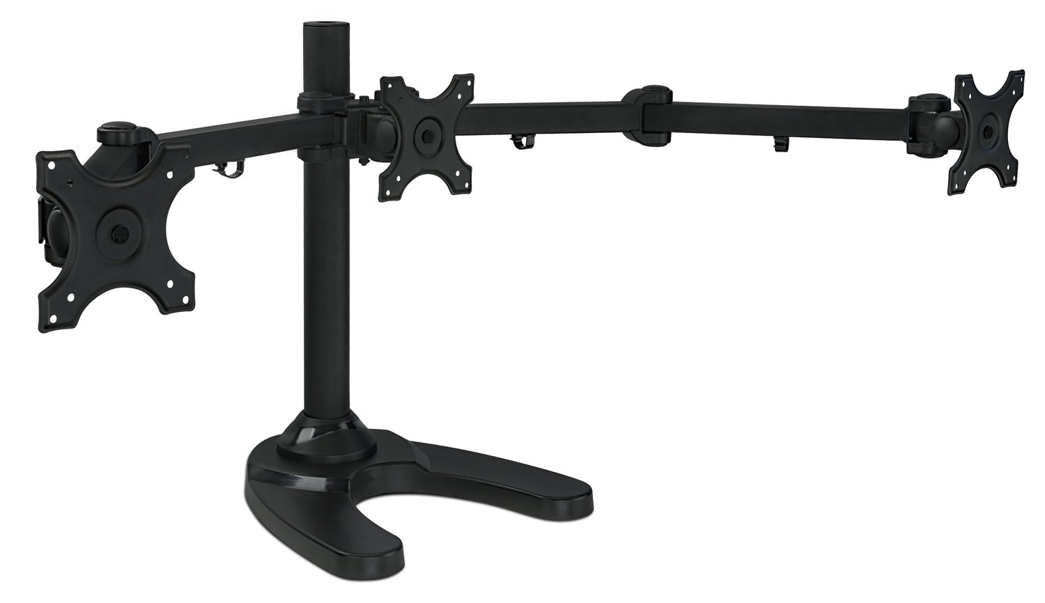Mount-It! MI-789 Triple Monitor Stand Freestanding LCD Computer Screen Desk Mount for 19, 20, 22, 23, 24 Inch Monitors VESA 75 and 100 Compatible Full Motion, 66 lbs Capacity (3 Horizontal Monitor) by Mount-It!