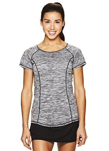 HEAD Women's Serena Short Sleeve Workout T-Shirt - Performance Crew Neck Activewear Top - Black Heather, X-Small
