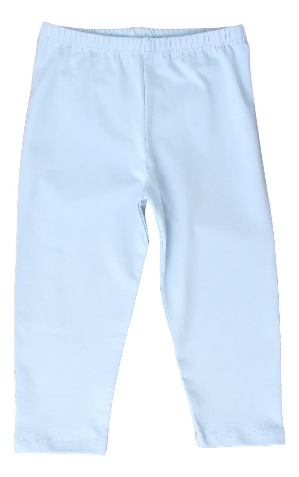 CAOMP Girl's Capri Crop Leggings, Organic Cotton Spandex, School or Play Light Blue 3 / 4