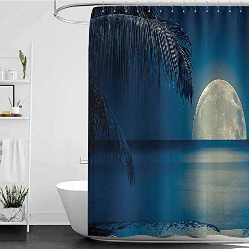 Shower Curtains Fabric Moon Ocean Decor Collection,Full Moon Reflected on The Calm Water of a Tropical Beach View with Palm Leaves Picture,Navy Blue White Cream W48 x L84,Shower Curtain for Women