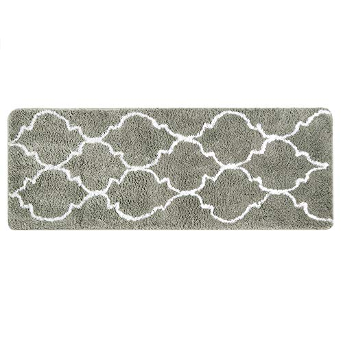 "Uphome Moroccan Patten Extra Long Bathroom Rug, Microfiber Washable Non-Slip Soft Absorbent Decorative Bath Mats Runner Floor Mat Carpet (18"" W x 48"" L, Grey)"