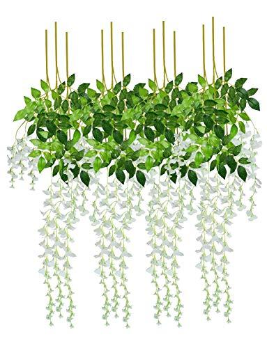 Hotsaleglobal 12 Pcs Artificial Silk Wisteria Vine Rattan Hanging Flower for Wedding Party Home Decor(White)