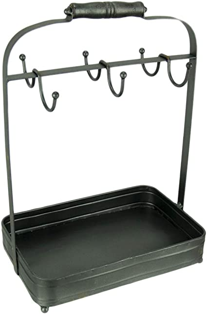 The Lakeside Collection Distressed Finish Farmhouse Coffee Mug Rack with Storage Tray