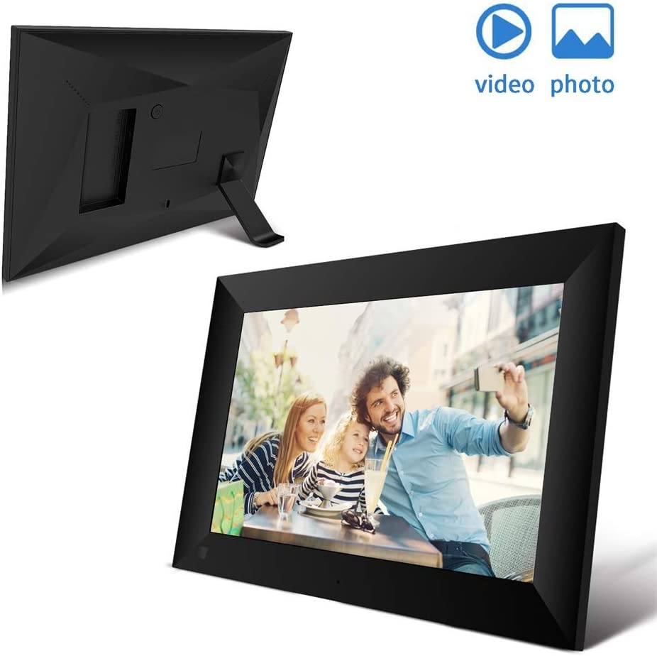 OHYGGE Digital Picture Frame WiFi 10.1 Inch Screen Touch Display USB 16GB 1280HD Auto Rotate Motion Sensor,Digital Photo Frame with APP for Parents Gifts