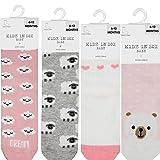 Kidz in Sox 4-Pack Non Slip Grip Socks | Baby Socks Non Skid Grey | Toddler Socks Girls With Grips | Solid Socks for Baby