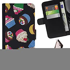 - Queen Pattern FOR Apple Iphone 5 / 5S /La identificaci????n del cr????dito ranuras para tarjetas tir????n de la caja Cartera de cuero cubie - cupcake sweet muffin baking chef -