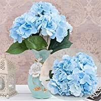 Homyu Artificial Hydrangea Flowers 5 Big Heads Bouquet Beautiful Flowers for Office Home Party Decoration (Light Blue)
