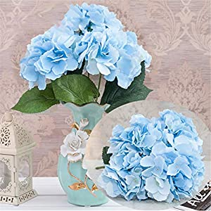Homyu Artificial Hydrangea Flowers 5 Big Heads Bouquet Beautiful Flowers for Office Home Party Decoration (Light Blue) 24