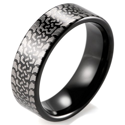- SHARDON Men's 8mm Black Tungsten Carbide Ring with Engraved Tire Tread Size 7