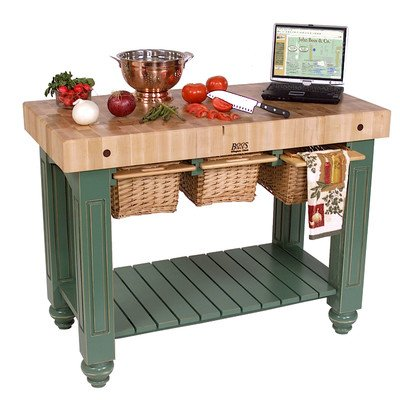 American Heritage Kitchen Island with Butcher Block Top Base Finish: Sporty Blue ()