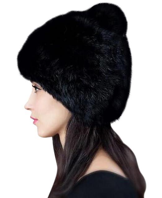 486f0e360 Urban CoCo Women's Winter Warm Beanie Rabbit Fur Hat Pom Pom Cap