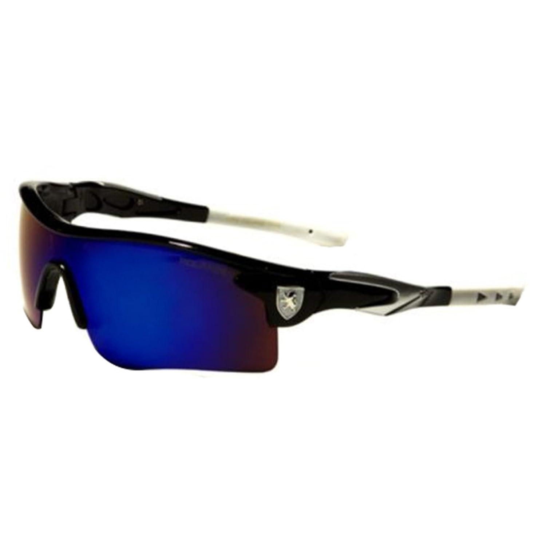 Black White Polarized Mirror Lens Mens Fishing Cycling Baseball Sport Wrap Sunglasses