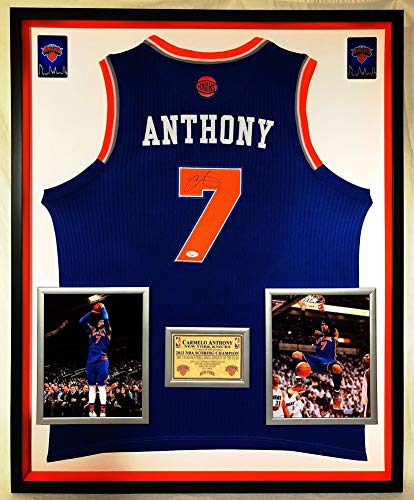 55436d207931 Premium Framed Carmelo Anthony Signed Autograph New York Knicks On Court  Adidas Jersey JSA Certified