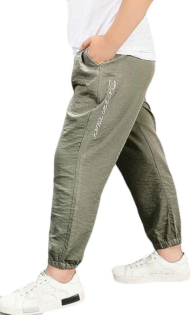 JWK Boys Stretchy Large Size Elastic Wasit Jogger Pants Loose Solid Pant