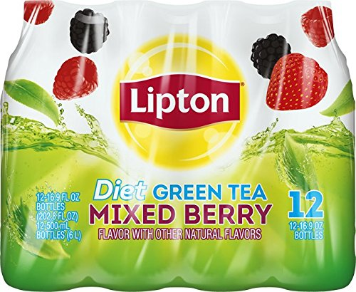 Lipton Diet Green Tea, Mixed Berry, (12 Count, 16.9 Fl Oz Each)