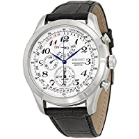 Deals on Seiko Mens Spc131 Silver Leather Japanese Quartz Fashion Watch