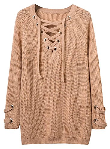 Futurino Women's Lace Up V-Neck Long Sleeve Knit Pullover Sweater Dress Top Photo #4