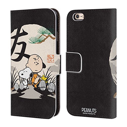 (Official Peanuts Charlie Brown Oriental Snoopy Leather Book Wallet Case Cover for iPhone 6 / iPhone 6s)