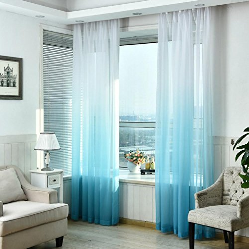 Price comparison product image 1 PC Solid Washable Valances Tulle Voile Curtain Door Window Drape Panel Sheer Scarf Divider Deco - Woaills 270cm x 100cm (Blue)