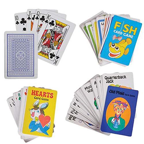 Jenna & Bree 4 Kids Card Games Set | Old Maid, Go Fish, Hearts and Standard Deck Playing Cards | Classic Plastic Coated 2.25 x 3.5 for Children
