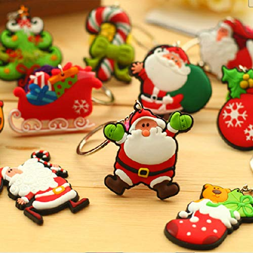 OYJJ Cute Christmas Key Chain Cartoon Santa Claus Snowman Deer Keychain, Mini Keychain for Birthday Party, Home Decoration, Classroom Rewards and Party Favor(Random) ()