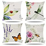 ONWAY Outdoor Garden Decoration Bee/Butterfly / Dragonfly/Ladybug Pillow Case Leaf/Lavender / Flower Decorative Throw Pillow Covers 18 x 18 inches, Set of 4
