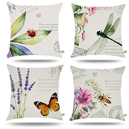 Butterfly Garden Decorative Pillow - ONWAY Outdoor Garden Decoration Bee/Butterfly / Dragonfly/Ladybug Pillow Case Leaf/Lavender / Flower Decorative Throw Pillow Covers 18 x 18 inches, Set of 4