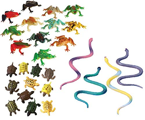 M&E - 3 Reptile Mini Figures (36)! Frogs Turtles and Snakes! Great for Party Favors, Stocking Stuffers, classrooms and goodybags! 1 Dozen of Each!