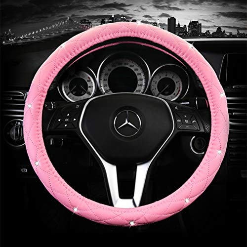 (Pink Steering Wheel Cover Leather with Rhinestones Luxurious Car Steering Wheel Cover Universal 15 inch for Auto Truck SUV (A-Pink))